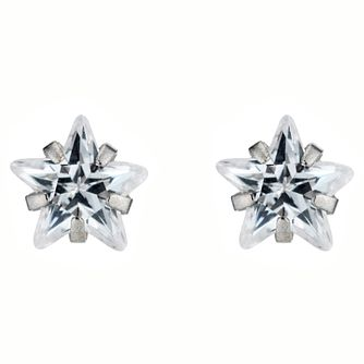 9ct White Gold Cubic Zirconia Solitaire Star Stud Earrings - Product number 4443721