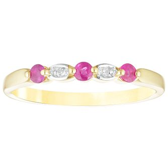 9ct Yellow Gold Ruby & Diamond Eternity Ring - Product number 4443993