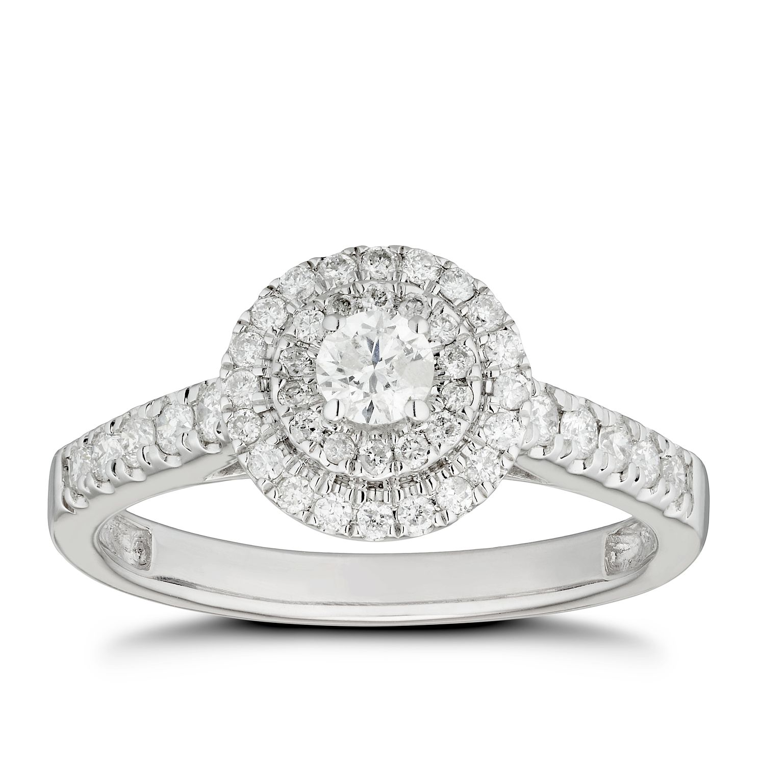18ct White Gold 0.50ct Total Diamond Round Double Halo Ring - Product number 4444760