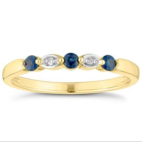 9ct Yellow Gold Sapphire & Diamond Eternity Ring - Product number 4444914