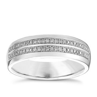 9ct White Gold 0.10ct Diamond 2 Row Band - Product number 4447565