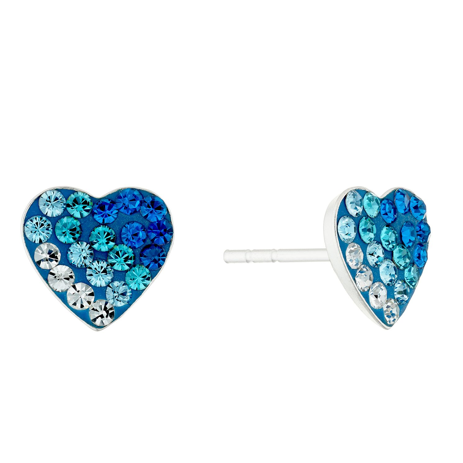 Silver & Enamel Blue Crystal Heart Stud Earrings - Product number 4448960