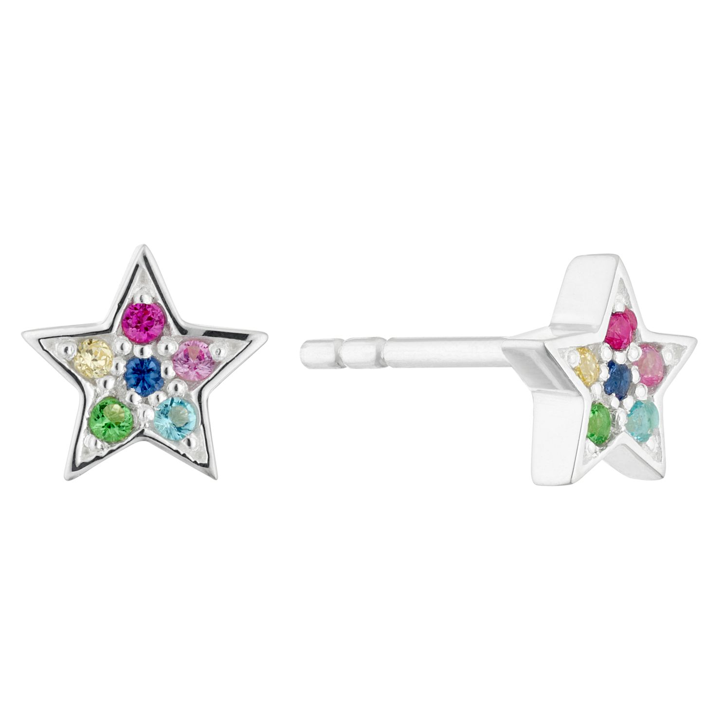 Silver & Multicoloured Crystal Star Stud Earrings - Product number 4449452