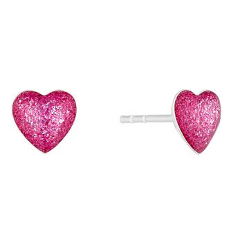 Silver & Enamel Pink Glitter Heart Stud Earrings - Product number 4450248