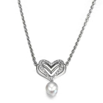 Vera Wang Diamond Heart and Pearl Pendant - Product number 4450256