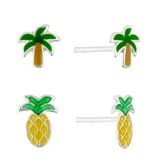 Silver & Enamel Palm Tree & Pineapple Stud Earrings Set - Product number 4450736