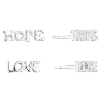 Silver Hope & Love Stud Earrings Set - Product number 4450892