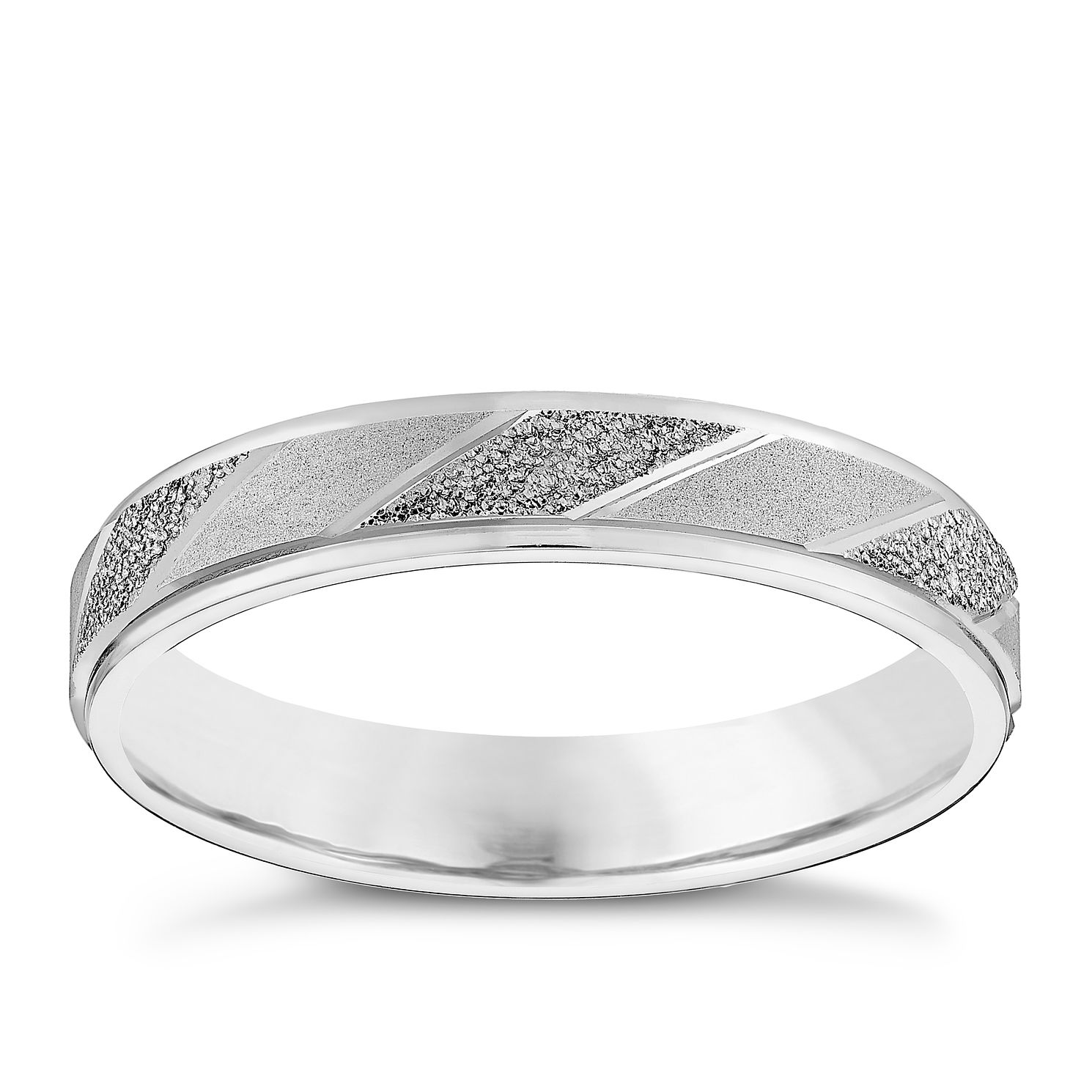 Ladies' 9ct White Gold Diagonal Patterned Band - Product number 4451066