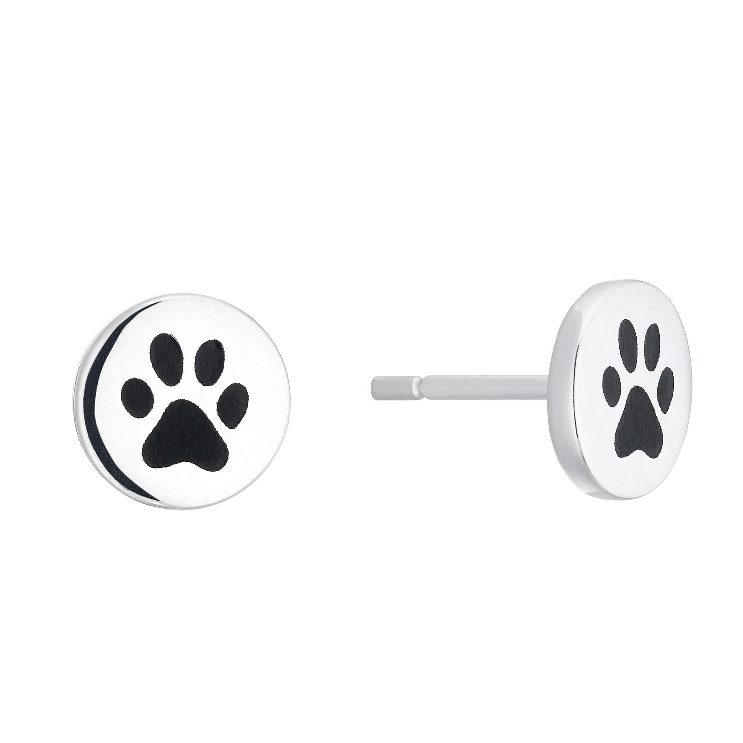 Silver Paw Print Disc Stud Earrings - Product number 4451414