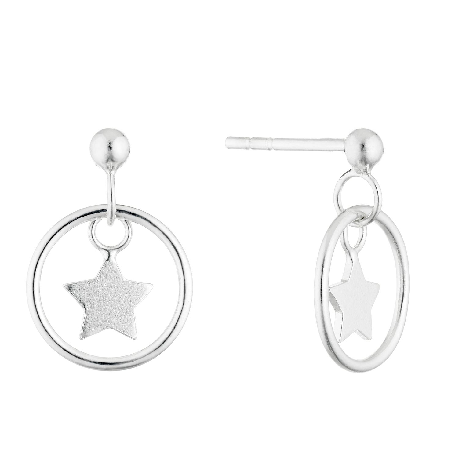 Silver Star Charm Round Drop Earrings - Product number 4451821