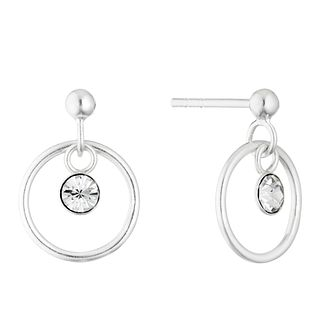 Silver Crystal Charm Drop Round Earrings - Product number 4451856
