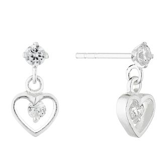Silver Cubic Zirconia Heart Drop Earrings - Product number 4452259