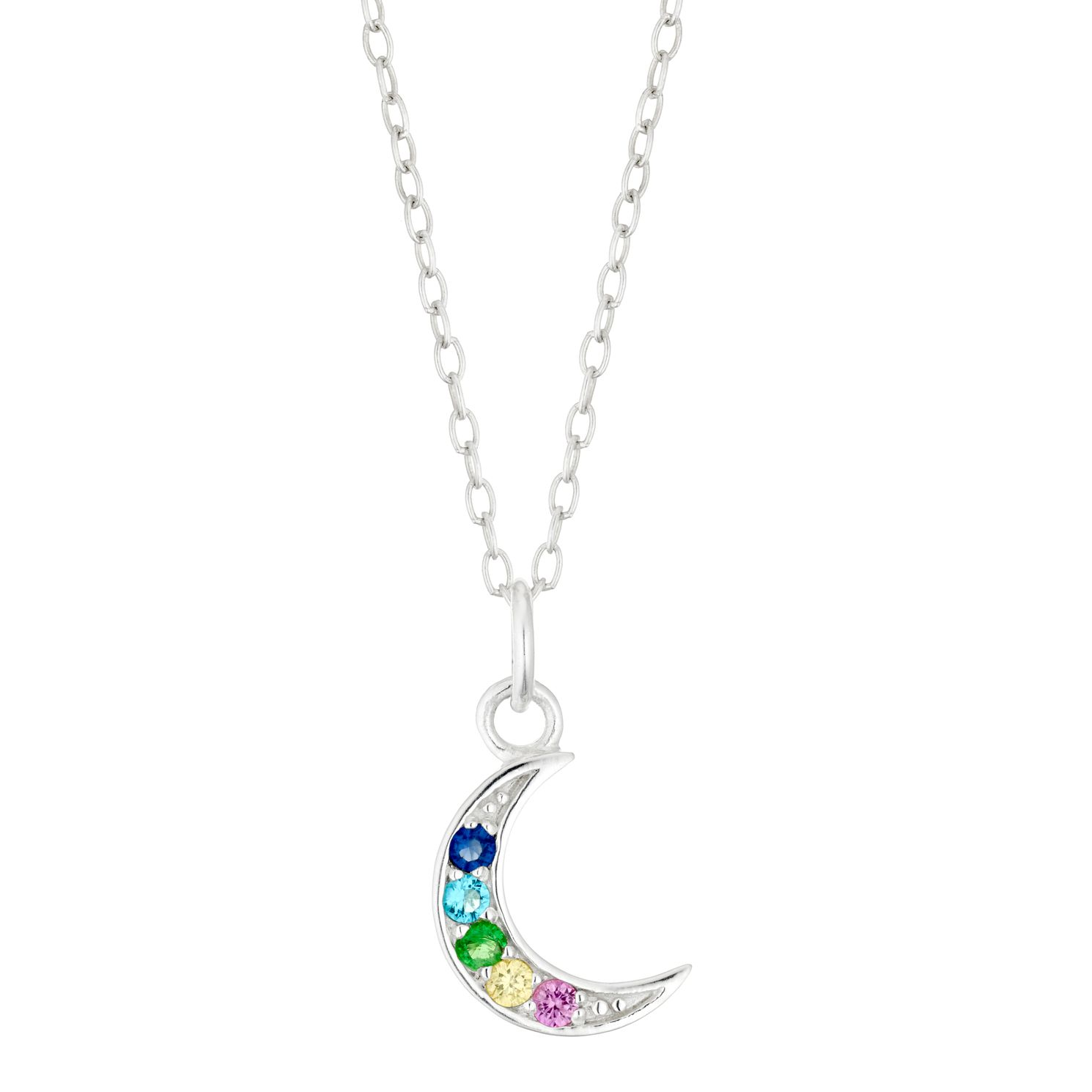 Silver & Multicoloured Crystal Moon Pendant - Product number 4452372