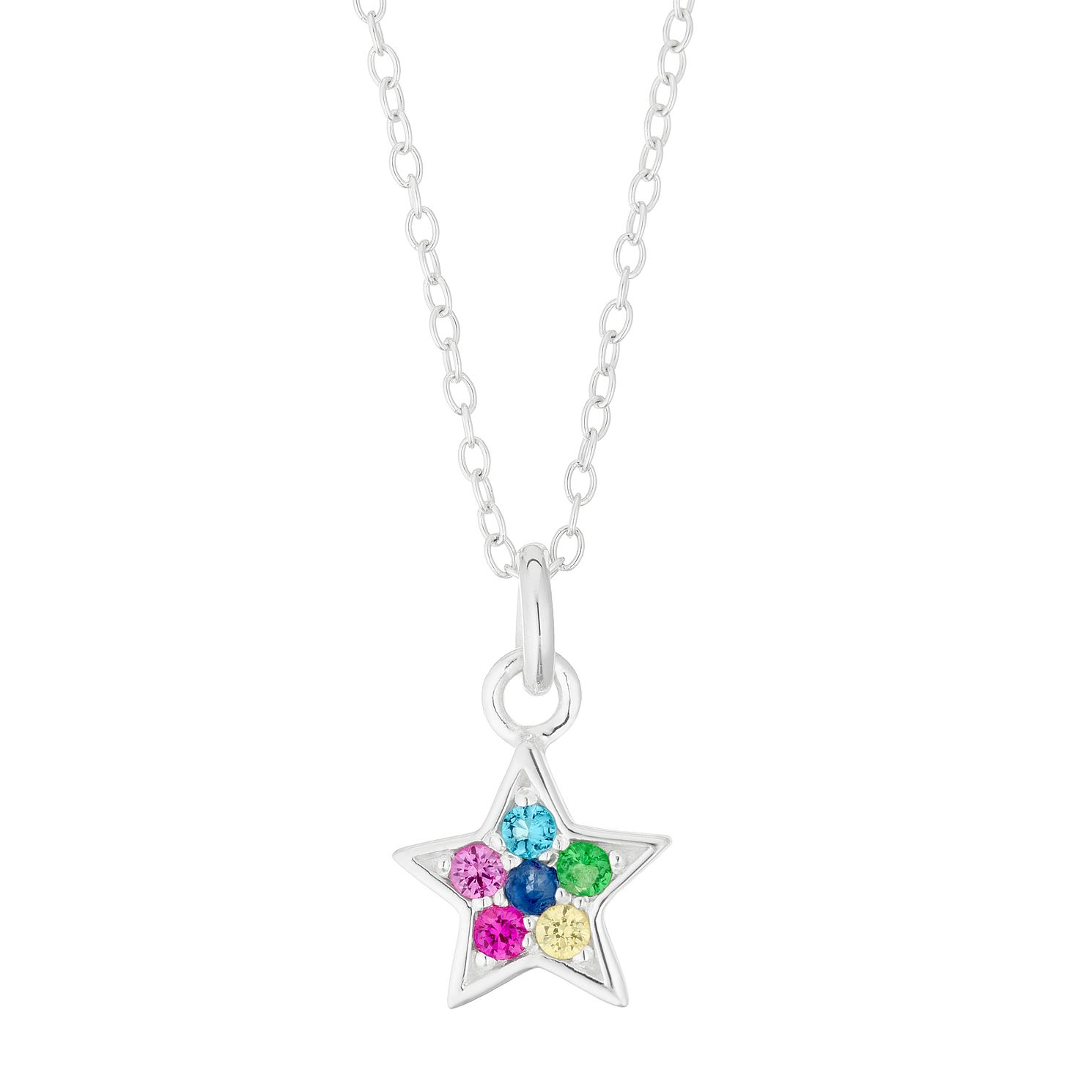 Silver & Multicoloured Crystal Star Pendant - Product number 4452984