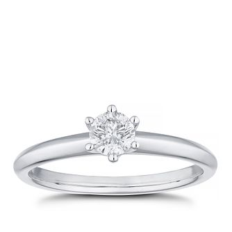 Platinum 0.30ct Diamond 6-Claw Solitaire Ring - Product number 4453689