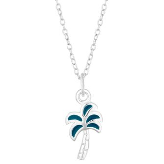 Silver & Enamel Palm Tree Pendant - Product number 4453778