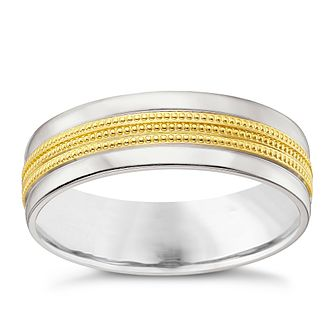 Men's Argentium Silver & 9ct Gold Milgrain Centre Court Band - Product number 4453808