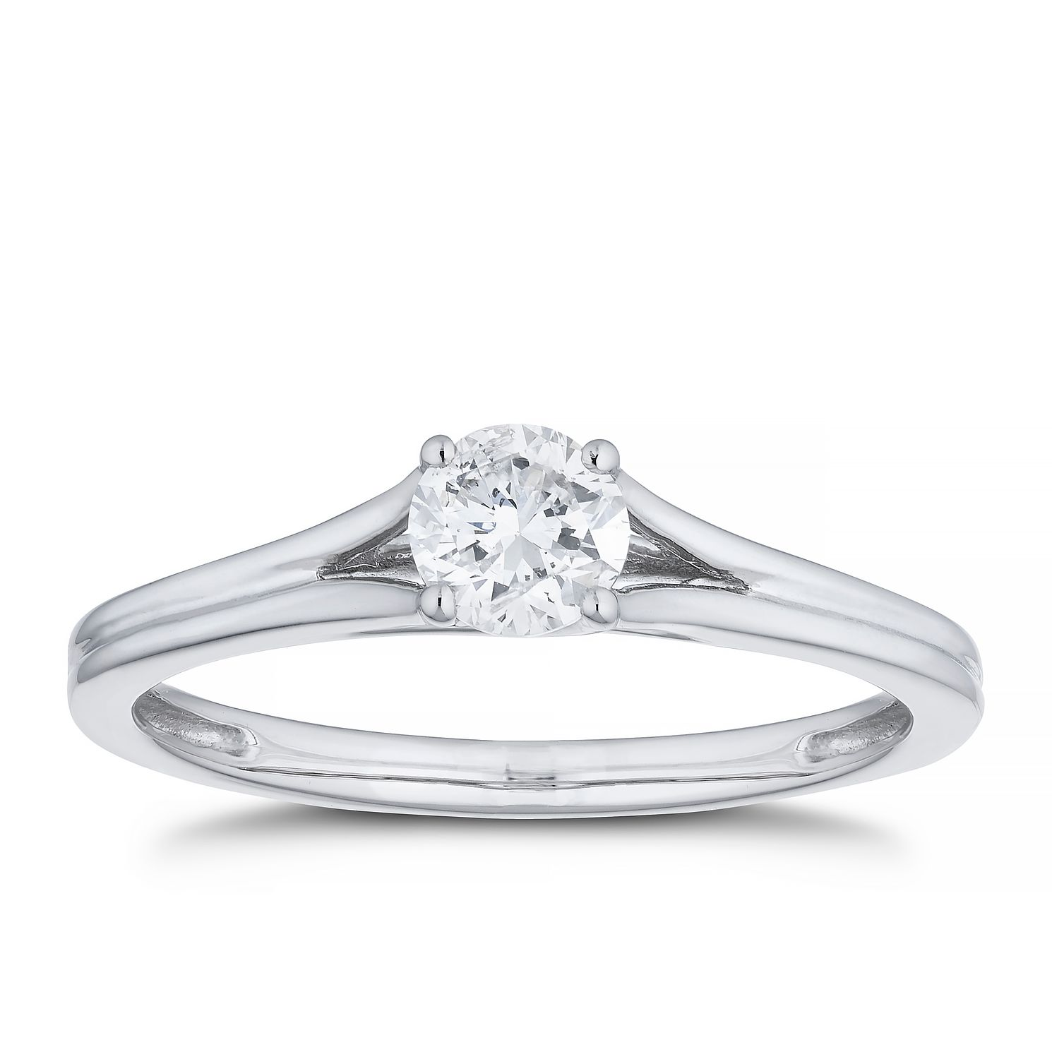 Platinum 0.33ct Diamond Solitaire Split Shoulders Ring - Product number 4456602