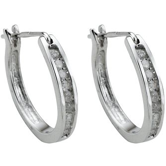 9ct white gold 15 point diamond hoop earrings - Product number 4458524