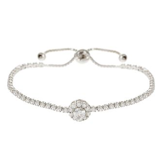Mikey Silver Tone Cubic Zirconia Daisy Adjustable Bracelet - Product number 4459261
