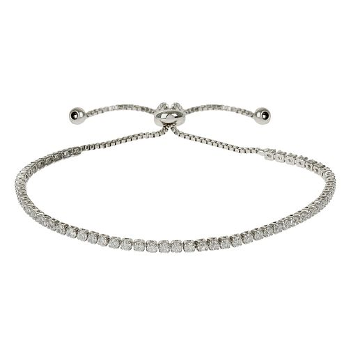 Mikey Silver Tone Crystal Chain Adjustable Bracelet - Product number 4459288