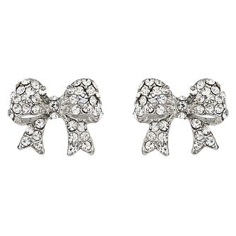 Mikey Silver Tone Crystal Set Bow Stud Earrings - Product number 4459385