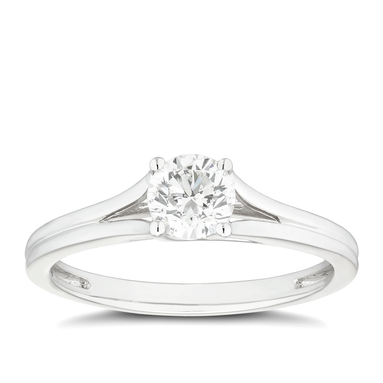 Platinum 1/2ct Diamond Solitaire Split Shoulders Ring - Product number 4459849