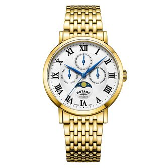 Rotary Windsor Men's Yellow Gold Plated Moonphase Watch - Product number 4462831