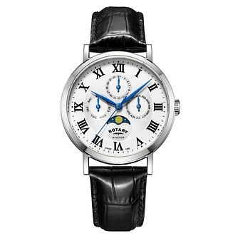 Rotary Windsor Men's Stainless Steel Moonphase Strap Watch - Product number 4462858