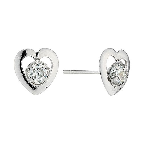 994152bf4 9ct White Gold Small Cubic Zirconia Heart Stud Earrings - Product number  4463692