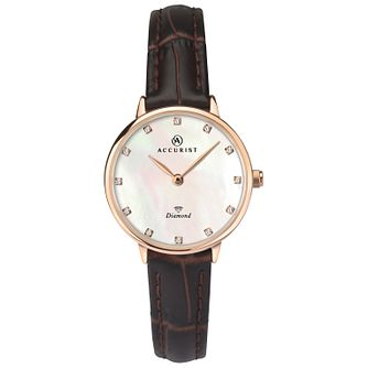 Accurist Ladies' Diamond-Set Brown Leather Strap Watch - Product number 4464001
