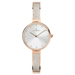 Accurist Ladies' Rose Gold Plated Semi-Bangle Bracelet Watch - Product number 4464052