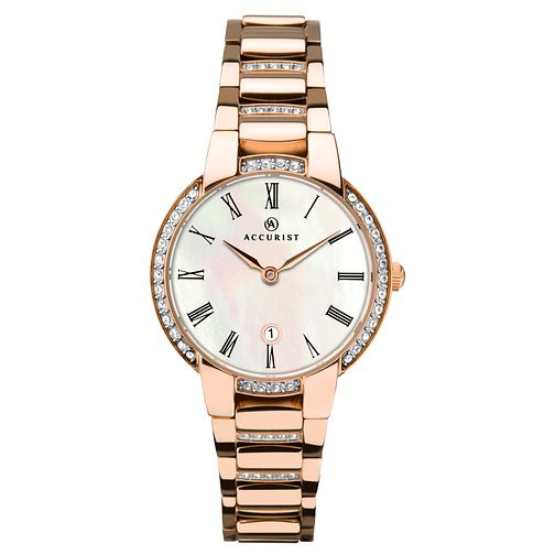 Accurist Signature Ladies' Stone-Set Rose Gold Plated Watch - Product number 4464109