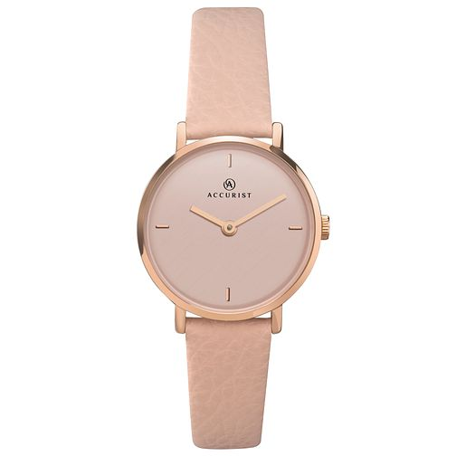 Accurist Ladies' Pink Dial Pink Leather Strap Watch - Product number 4464389