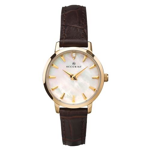 Accurist Ladies' Brown Leather Strap Watch - Product number 4464400