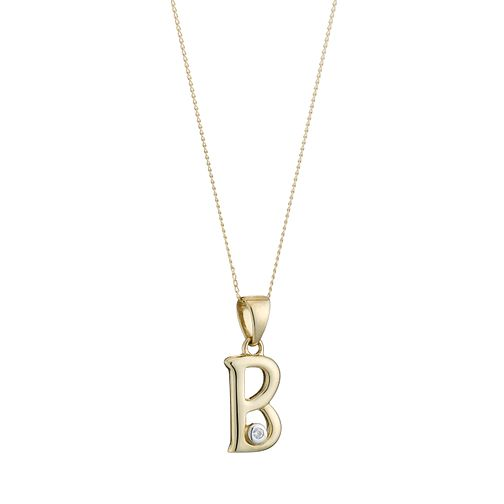9ct Gold Cubic Zirconia Initial B Pendant - Product number 4464664