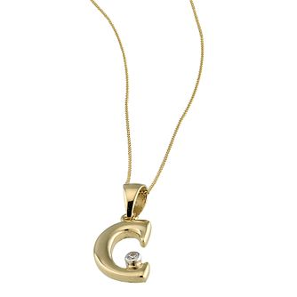 9ct Gold Cubic Zirconia Set Letter C 16 inches Pendant - Product number 4464672
