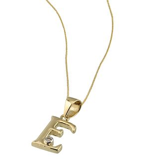 9ct Gold Cubic Zirconia Set Letter E 16 inches Pendant - Product number 4464699