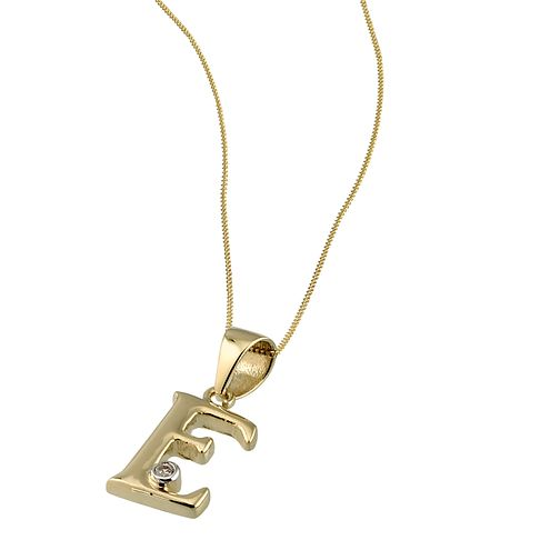 9ct Gold Cubic Zirconia Set Letter E Pendant With 16 Chain Hmuel