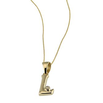 9ct Gold Cubic Zirconia Set Letter L 16 inches Pendant - Product number 4464761