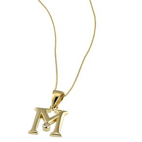 "9ct Gold Cubic Zirconia Set Letter M Pendant with 16"" Chain - Product number 4464788"