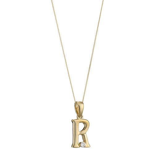 9ct Gold Cubic Zirconia Initial R Pendant - Product number 4464842