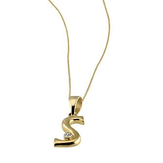 "9ct Gold Cubic Zirconia Set Letter S Pendant with 16"" Chain - Product number 4464850"