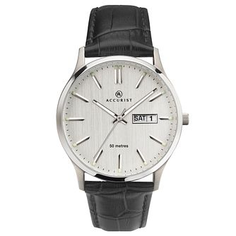 Accurist Men's Grey Dial Black Leather Strap Watch - Product number 4464990