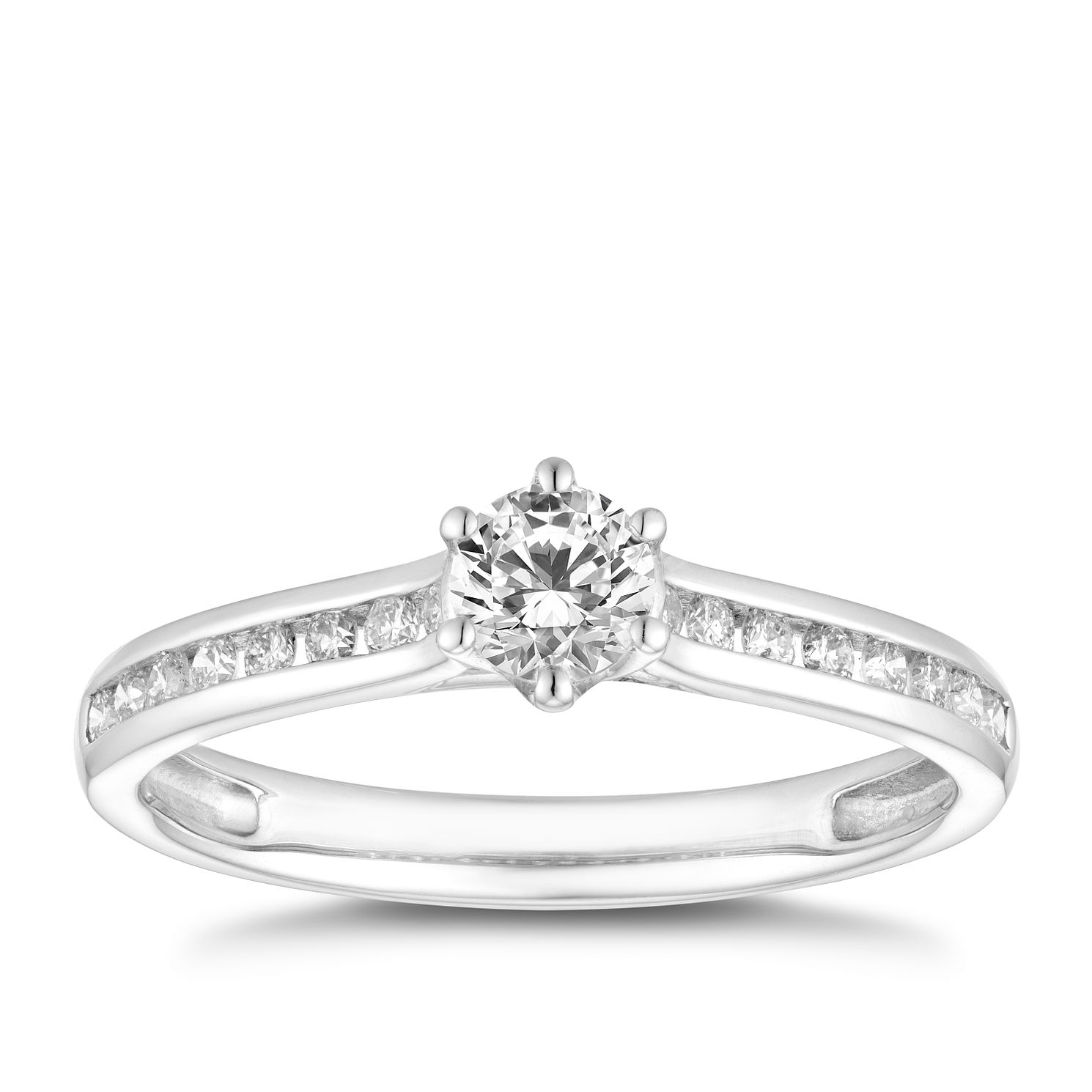 Platinum 1/2ct Diamond Solitaire Channel Set Shoulders Ring - Product number 4465504