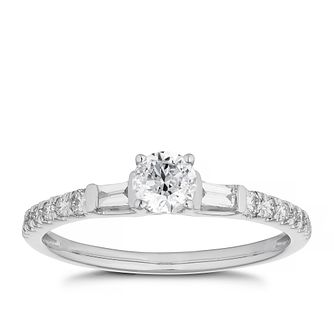 Platinum 1/2ct Diamond Solitaire Mix-Cut Shoulders Ring - Product number 4466853