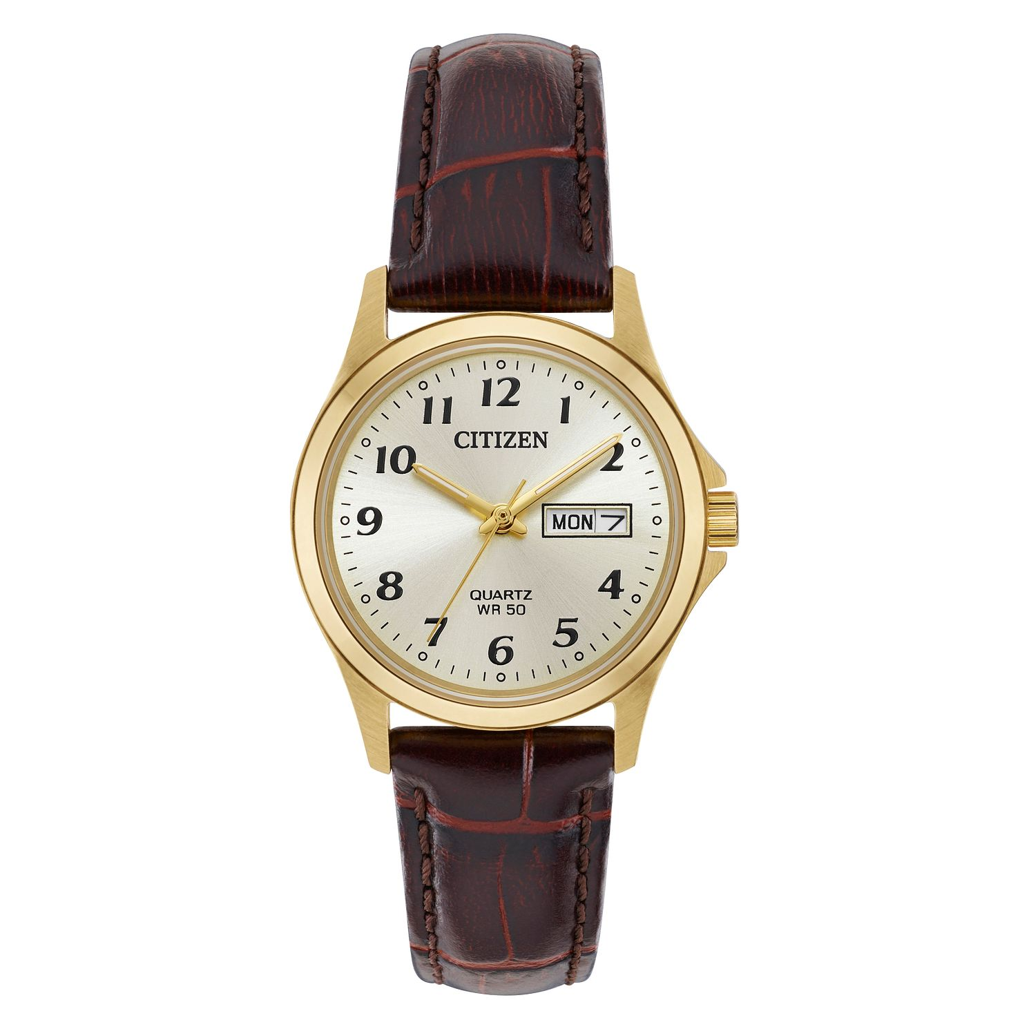 Citizen Ladies' Quartz Gold Tone Brown Leather Strap Watch - Product number 4466896