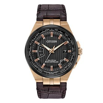 Citizen Eco-Drive Men's World Time Brown Leather Strap Watch - Product number 4467450