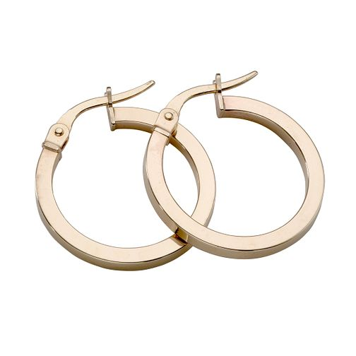 9ct yellow gold plain round Creole hoop earrings 15mm - Product number 4467590