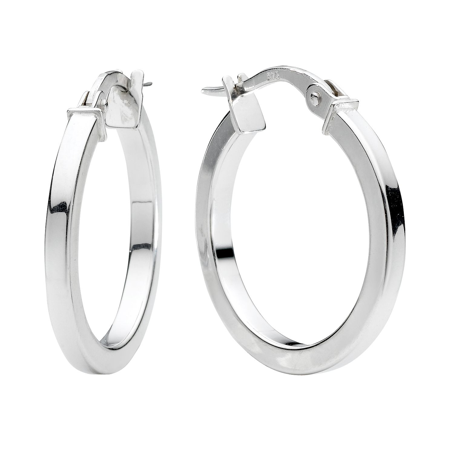 9ct White Gold 15mm Hoop Earrings - Product number 4467604